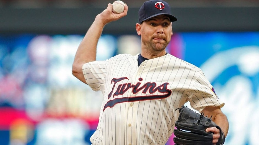 Sep 19, 2015; Minneapolis, MN, USA; Minnesota Twins starting pitcher Mike Pelfrey (37) pitches to the Los Angeles Angels in the first inning during game two of a doubleheader at Target Field. Mandatory Credit: Bruce Kluckhohn-USA TODAY Sports