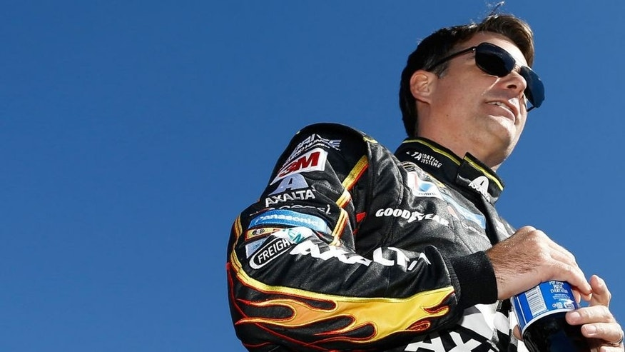 JOLIET, IL - SEPTEMBER 20: Jeff Gordon, driver of the #24 AXALTA Chevrolet, is introduced during the NASCAR Sprint Cup Series myAFibRisk.com 400 at Chicagoland Speedway on September 20, 2015 in Joliet, Illinois. (Photo by Jeff Zelevansky/NASCAR via Getty Images)