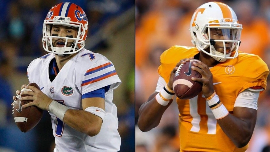 <p>Florida Gators quarterback Will Grier (left) and Tennesse Volunteers quarterback Joshua Dobbs (right).<br> </p>