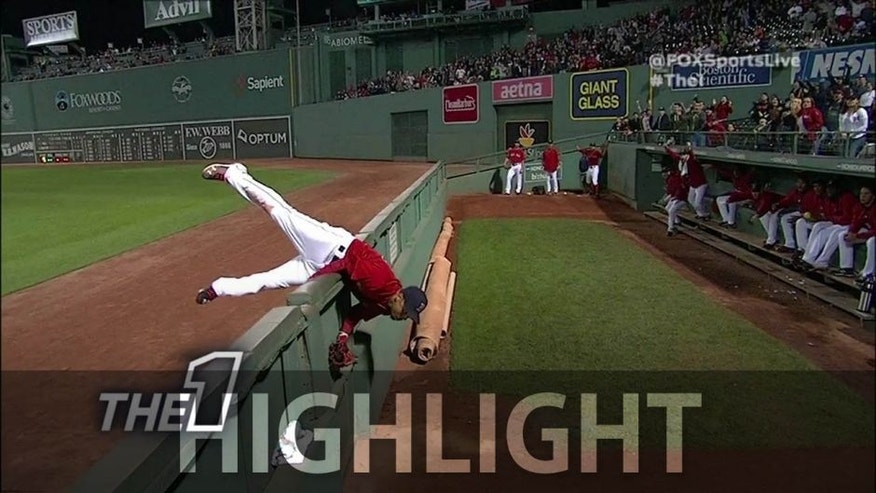 Check out Mookie Betts' catch at the end of the Red Sox's 7-0 win over the Orioles.