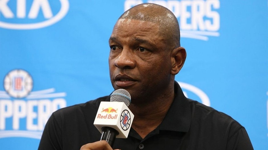 PLAYA VISTA, CA - SEPTEMBER 25: Head Coach Doc Rivers addresses the media at the Los Angeles Clippers Media Day on September 25, 2015 in Playa Vista, California. (Photo by Leon Bennett/Getty Images)