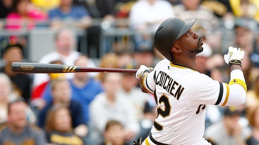 PITTSBURGH, PA - APRIL 19: Andrew McCutchen #22 of the Pittsburgh Pirates at bat against the Milwaukee Brewers during the game at PNC Park on April 19, 2015 in Pittsburgh, Pennsylvania. (Photo by Jared Wickerham/Getty Images)