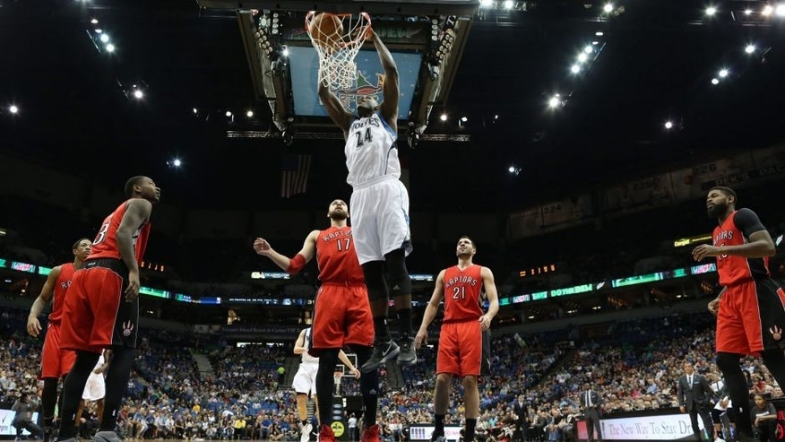 <p>MINNEAPOLIS, MN - APRIL 1: Anthony Bennett #24 of the Minnesota Timberwolves dunks against the Toronto Raptors during the game on April 1, 2015 at Target Center in Minneapolis, Minnesota. NOTE TO USER: User expressly acknowledges and agrees that, by downloading and or using this Photograph, user is consenting to the terms and conditions of the Getty Images License Agreement. Mandatory Copyright Notice: Copyright 2015 NBAE (Photo by Jordan Johnson/NBAE via Getty Images)</p>