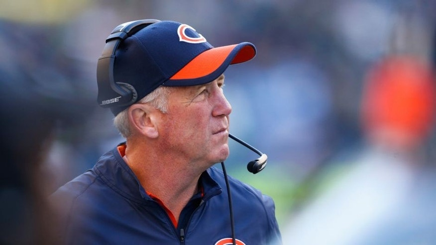 Sep 27, 2015; Seattle, WA, USA; Chicago Bears head coach John Fox looks up towards the scoreboard during the fourth quarter against the Seattle Seahawks at CenturyLink Field. Seattle defeated Chicago, 26-0. Mandatory Credit: Joe Nicholson-USA TODAY Sports