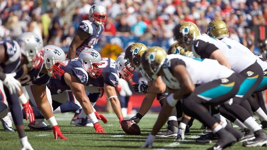 Sep 27, 2015; Foxborough, MA, USA; The Jacksonville Jaguars take on the New England Patriots in the first quarter at Gillette Stadium. Mandatory Credit: David Butler II-USA TODAY Sports