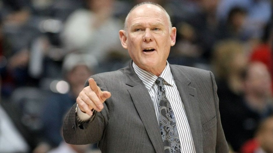 Mar 9, 2015; Atlanta, GA, USA; Sacramento Kings head coach George Karl coaches against the Atlanta Hawks in the first quarter at Philips Arena. Mandatory Credit: Brett Davis-USA TODAY Sports