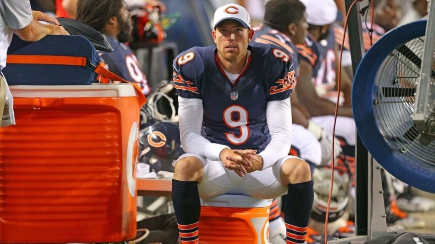 Aug 13, 2015; Chicago, IL, USA; Chicago Bears kicker Robbie Gould (9) on the bench during the second half of a preseason NFL football game against the Miami Dolphins at Soldier Field. Chicago won 27-10. Mandatory Credit: Dennis Wierzbicki-USA TODAY Sports
