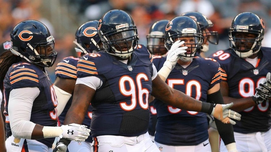 Aug 13, 2015; Chicago, IL, USA; Chicago Bears defensive tackle Jarvis Jenkins (96) reacts to making a tackle during the first quarter of a preseason NFL football game against the Miami Dolphins at Soldier Field. Mandatory Credit: Dennis Wierzbicki-USA TODAY Sports
