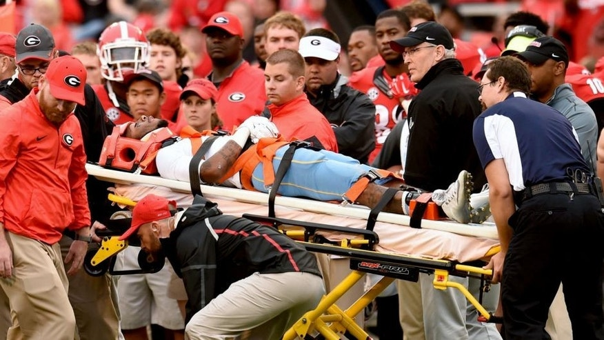 Sep 26, 2015; Athens, GA, USA; Southern University Jaguars wide receiver Devon Gales (33) is taken off on a stretcher and cart after being injured against the Georgia Bulldogs during the second half at Sanford Stadium. Georgia defeated Southern 48-6. Mandatory Credit: Dale Zanine-USA TODAY Sports