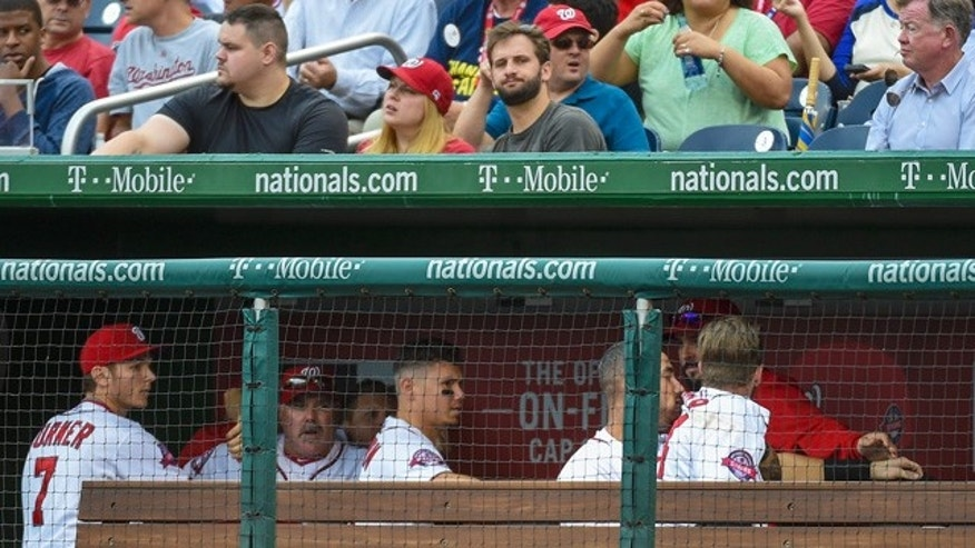 Sept. 27, 2015: Washington Nationals' Bryce Harper and Jonathan Papelbon fight in the dugout in the eighth inning of a baseball game against the Philadelphia Phillies in Washington. (Jonathan Newton(/The Washington Post via AP)