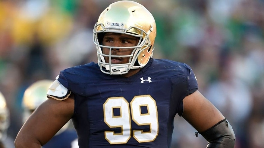 <p>Sep 19, 2015; South Bend, IN, USA; Notre Dame Fighting Irish defensive lineman Jerry Tillery (99) against the Georgia Tech Yellow Jackets at Notre Dame Stadium. Mandatory Credit: RVR Photos-USA TODAY Sports</p>