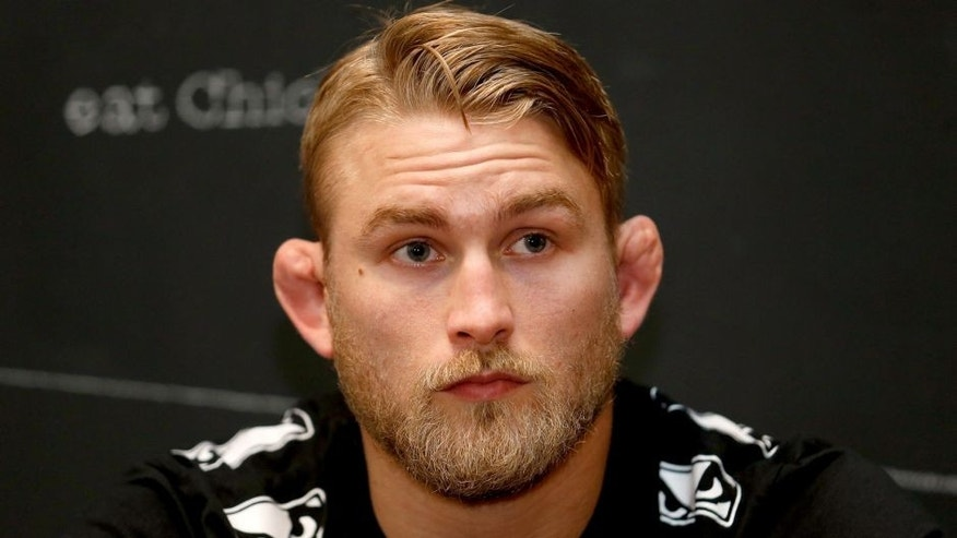 BERLIN, GERMANY - MAY 28: Guest fighter Alexander Gustafsson talks to the media after an open training session for fans and media at Spreecrossfit on May 28, 2014 in Berlin, Germany. (Photo by Boris Streubel/Zuffa LLC/Zuffa LLC via Getty Images)