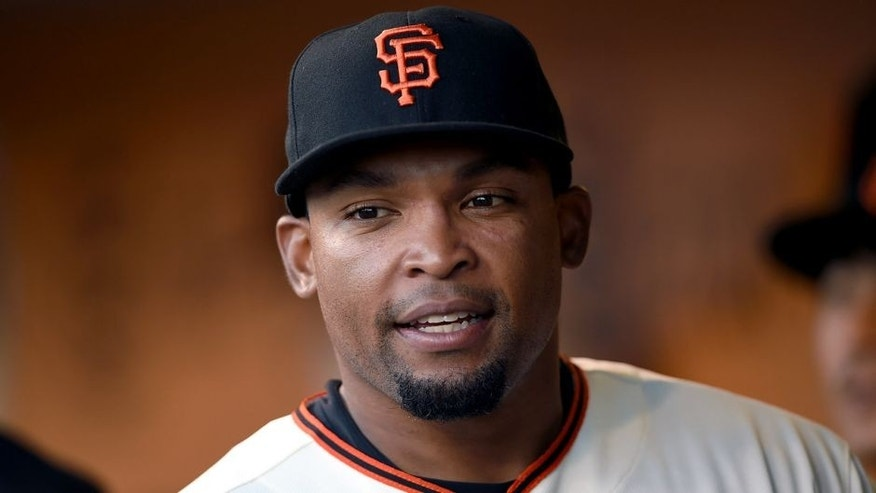 SAN FRANCISCO, CA - AUGUST 25: Marlon Byrd #6 of the San Francisco Giants looks on from the dugout prior to the start of the game against the Chicago Cubs at AT&T Park on August 25, 2015 in San Francisco, California. (Photo by Thearon W. Henderson/Getty Images)