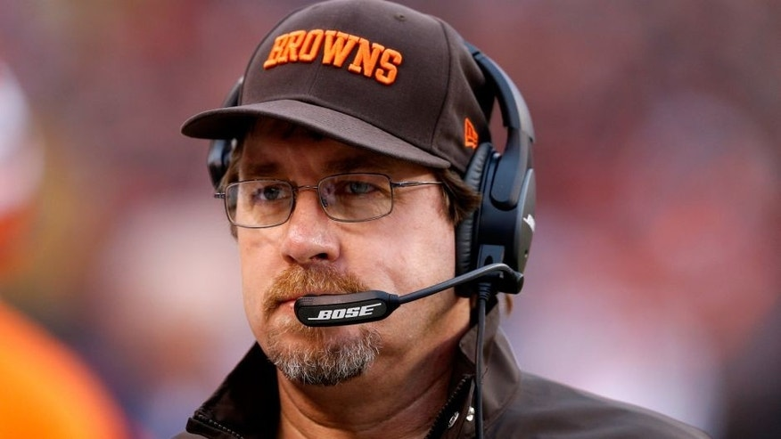 CLEVELAND, OH - DECEMBER 14: Cleveland Browns offensive line coach Andy Moeller looks on against the Cincinnati Bengals during the game at FirstEnergy Stadium on December 14, 2014 in Cleveland, Ohio. The Bengals defeated the Browns 30-0. (Photo by Joe Robbins/Getty Images)