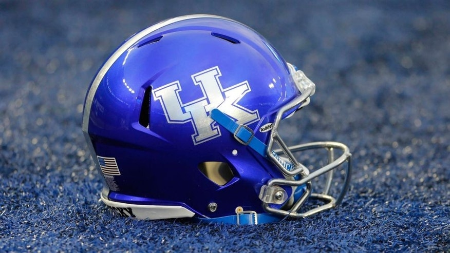 Sep 26, 2015; Lexington, KY, USA; A Kentucky Wildcats helmet sits on the field before the game against the Missouri Tigers at Commonwealth Stadium. Mandatory Credit: Mark Zerof-USA TODAY Sports
