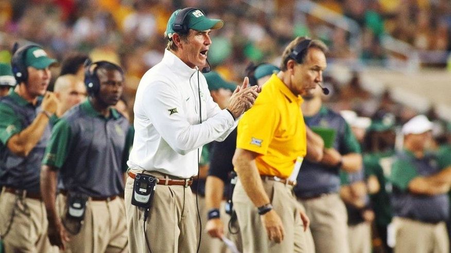 Sep 12, 2015; Waco, TX, USA; Baylor Bears head coach Art Briles on the sidelines during a game against the Lamar Cardinals at McLane Stadium. Baylor won 66-31. Mandatory Credit: Ray Carlin-USA TODAY Sports