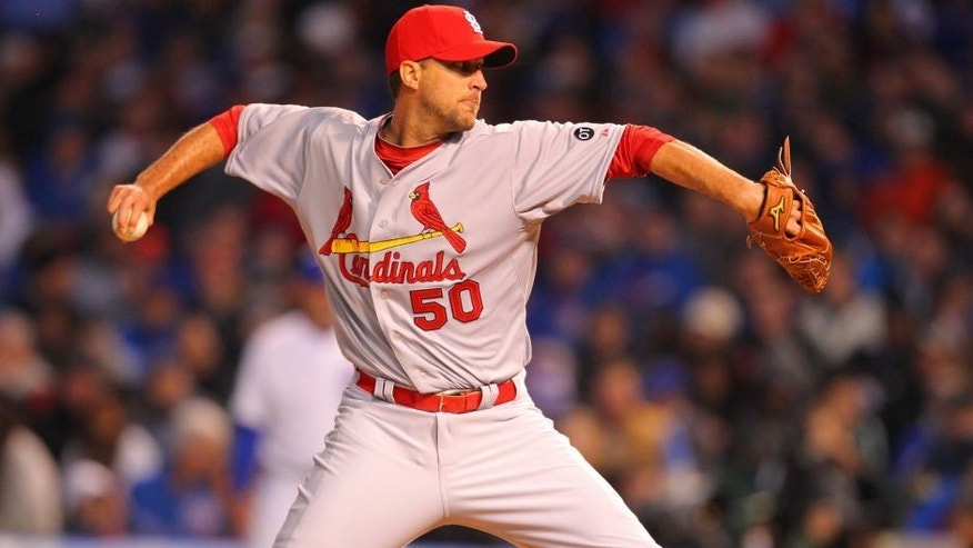 Apr 5, 2015; Chicago, IL, USA; St. Louis Cardinals starting pitcher Adam Wainwright (50) delivers a pitch during the first inning against the Chicago Cubs at Wrigley Field. Mandatory Credit: Dennis Wierzbicki-USA TODAY Sports