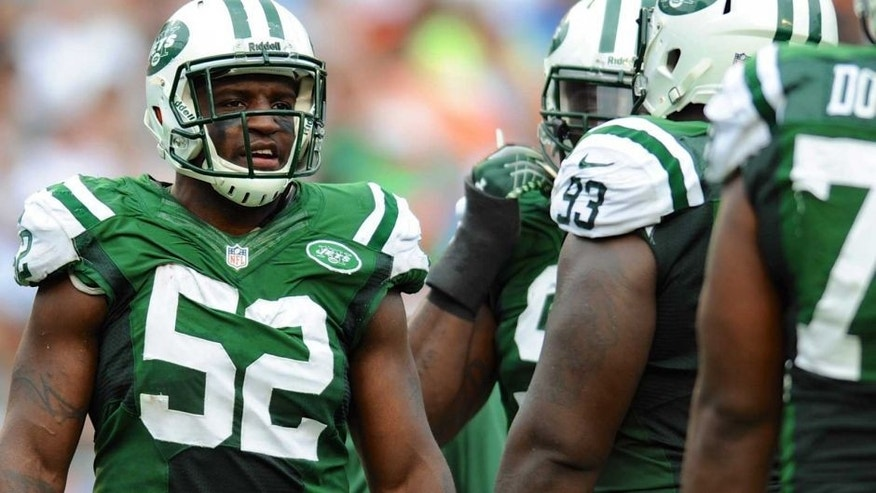 Dec 29, 2013; Miami Gardens, FL, USA; New York Jets inside linebacker David Harris (52) at the line of scrimmage against the Miami Dolphins at Sun Life Stadium. Mandatory Credit: Steve Mitchell-USA TODAY Sports