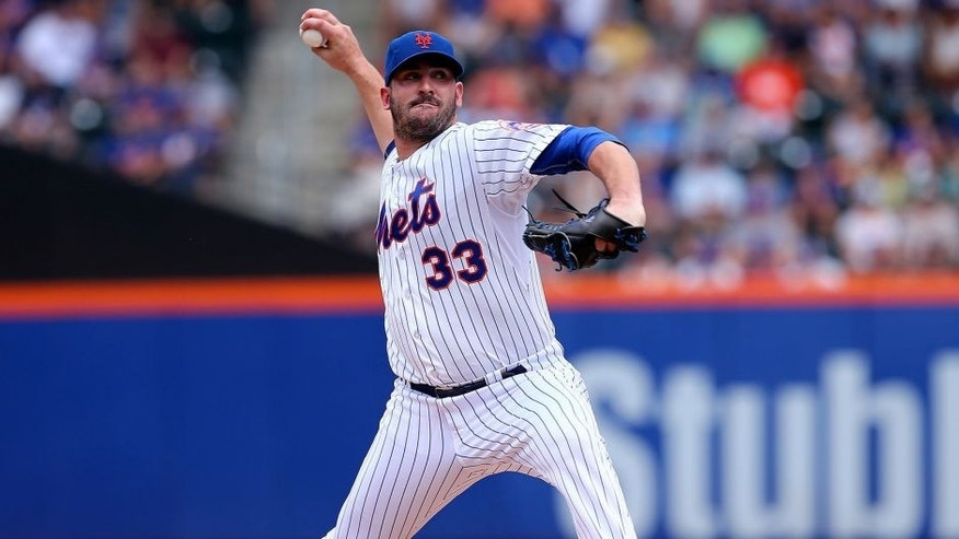 NEW YORK, NY - AUGUST 16: Matt Harvey #33 of the New York Mets delivers a pitch in the second inning against the Pittsburgh Pirates on August 16, 2015 at Citi Field in the Flushing neighborhood of the Queens borough of New York City. (Photo by Elsa/Getty Images)