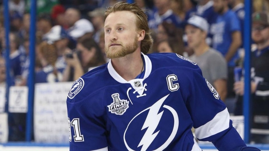 Jun 6, 2015; Tampa, FL, USA; Tampa Bay Lightning center Steven Stamkos (91) before game two of the 2015 Stanley Cup Final against the Chicago Blackhawks at Amalie Arena. Mandatory Credit: Kim Klement-USA TODAY Sports