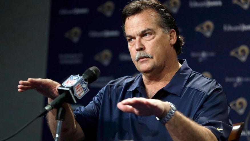 St. Louis Rams head coach Jeff Fisher speaks during a pre-draft news conference at the team's practice facility, Tuesday, May 6, 2014, in St. Louis. The Rams are scheduled to have two picks in the first-round of the NFL football draft on Thursday. (AP Photo/Jeff Roberson)