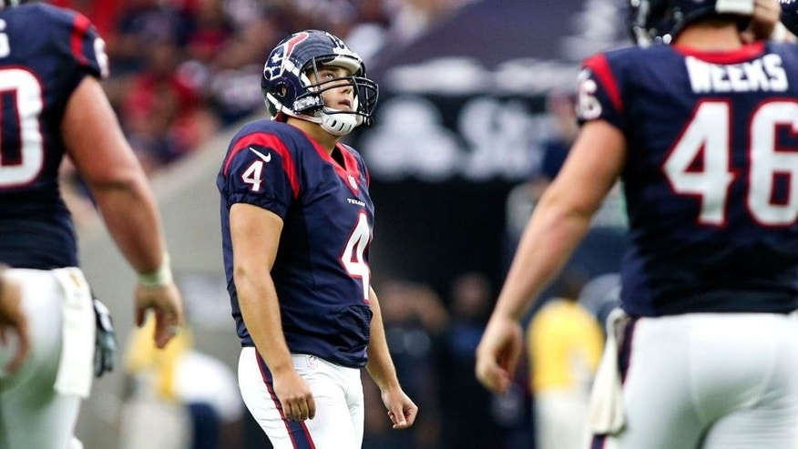 Sep 27, 2015; Houston, TX, USA; Houston Texans kicker Randy Bullock (4) looks up after missing a field goal attempt during the second quarter against the Tampa Bay Buccaneers at NRG Stadium. Mandatory Credit: Troy Taormina-USA TODAY Sports