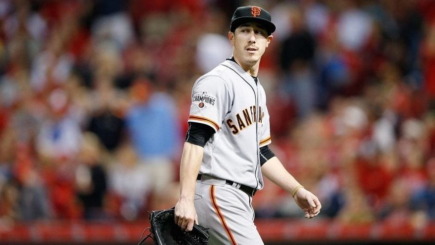 CINCINNATI, OH - MAY 14: Tim Lincecum #55 of the San Francisco Giants walks off the field during the game against the Cincinnati Reds at Great American Ball Park on May 14, 2015 in Cincinnati, Ohio. The Reds defeated the Giants 4-3. (Photo by Joe Robbins/Getty Images)