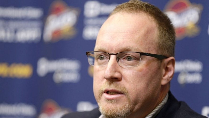 <p>Cleveland Cavaliers interim general manager David Griffin answers questions during a news conference Tuesday, April 22, 2014, in Independence, Ohio. Unsure of his own future, Griffin discussed Cleveland's disappointing season, which ended for the fourth straight year shy of the NBA playoffs. (AP Photo/Tony Dejak)</p>