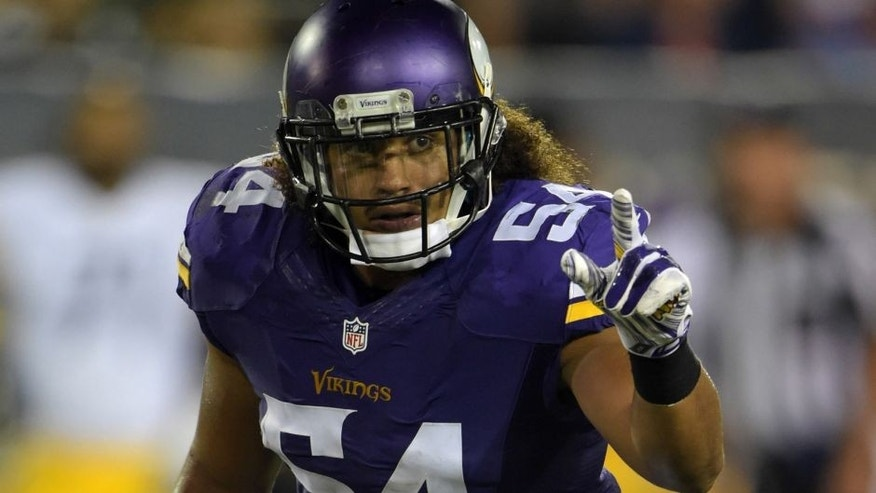 <p>Aug 9, 2015; Canton, OH, USA; Minnesota Vikings linebacker Eric Kendricks (54) against the Pittsburgh Steelers in the 2015 Hall of Fame game at Tom Benson Hall of Fame Stadium. Mandatory Credit: Kirby Lee-USA TODAY Sports</p>