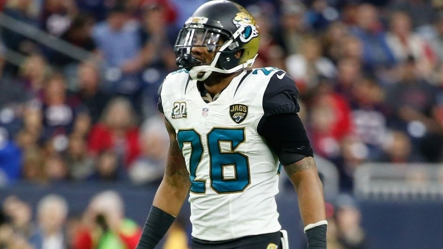 Dec 28, 2014; Houston, TX, USA; Jacksonville Jaguars free safety Josh Evans (26) during the game against the Houston Texans at NRG Stadium. Mandatory Credit: Kevin Jairaj-USA TODAY Sports