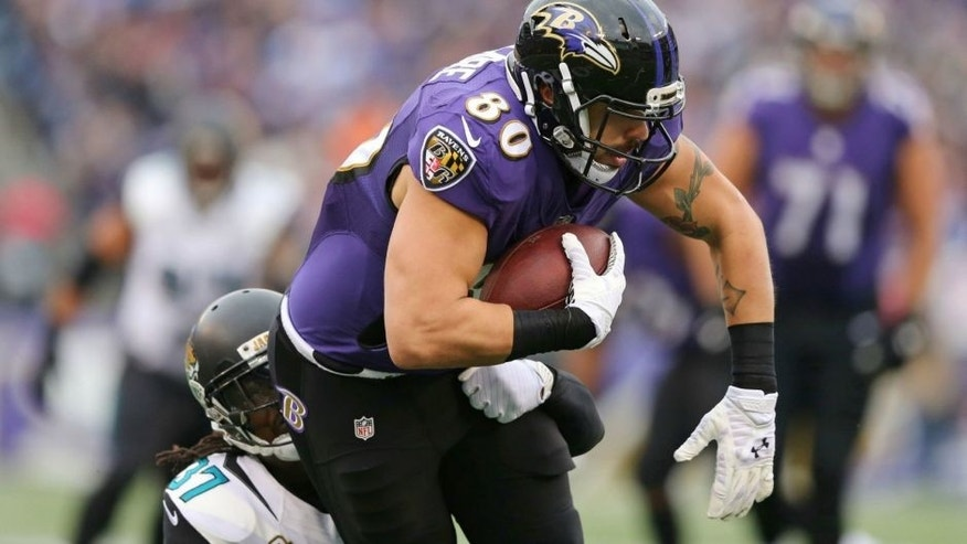 <p>Dec 14, 2014; Baltimore, MD, USA; Baltimore Ravens tight end Crockett Gillmore (80) is tackled by Jacksonville Jaguars safety Jonathan Cyprien (37) at M&T Bank Stadium. Mandatory Credit: Mitch Stringer-USA TODAY Sports</p>
