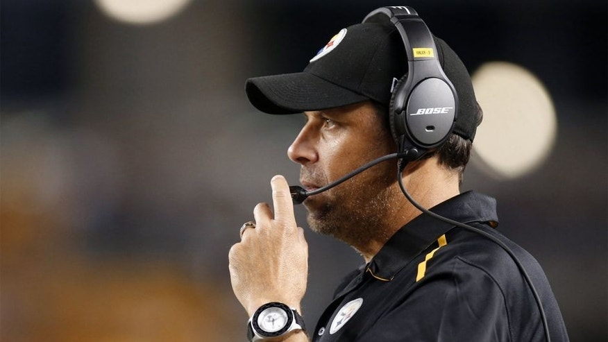 Aug 28, 2014; Pittsburgh, PA, USA; Pittsburgh Steelers offensive coordinator Todd Haley looks on against the Carolina Panthers during the third quarter at Heinz Field. The Panthers shutout the Steelers 10-0. Mandatory Credit: Charles LeClaire-USA TODAY Sports