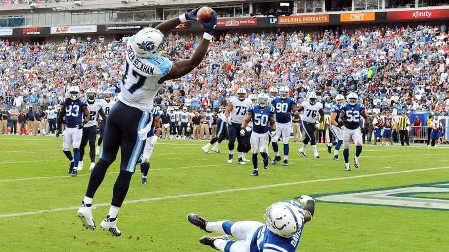 Sep 27, 2015; Nashville, TN, USA; Tennessee Titans receiver Dorial Green-Beckham (17) catches a pass in the end zone during the second half against the Indianapolis Colts at Nissan Stadium. Mandatory Credit: Christopher Hanewinckel-USA TODAY Sports