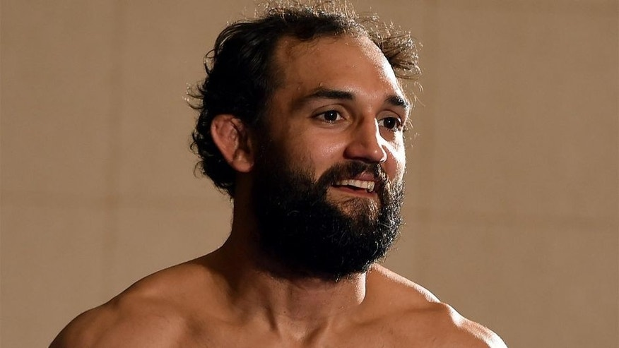 DALLAS, TX - MARCH 11: Johny Hendricks holds an open training session for fans and media at the Hilton Anatole Hotel on March 11, 2015 in Dallas, Texas. (Photo by Josh Hedges/Zuffa LLC/Zuffa LLC via Getty Images)
