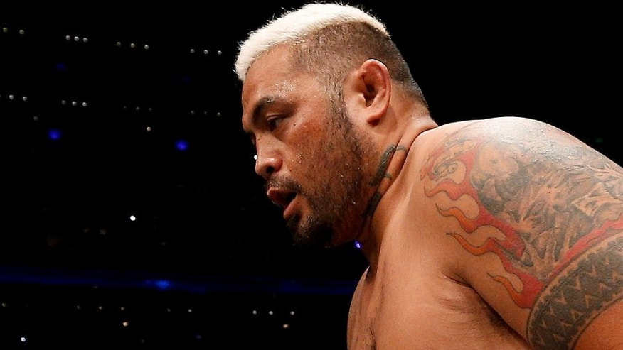 MEXICO CITY, MEXICO - NOVEMBER 15: Mark Hunt enters the Octagon before his interim UFC heavyweight championship bout against Fabricio Werdum during the UFC 180 event at Arena Ciudad de Mexico on November 15, 2014 in Mexico City, Mexico. (Photo by Josh Hedges/Zuffa LLC/Zuffa LLC via Getty Images)
