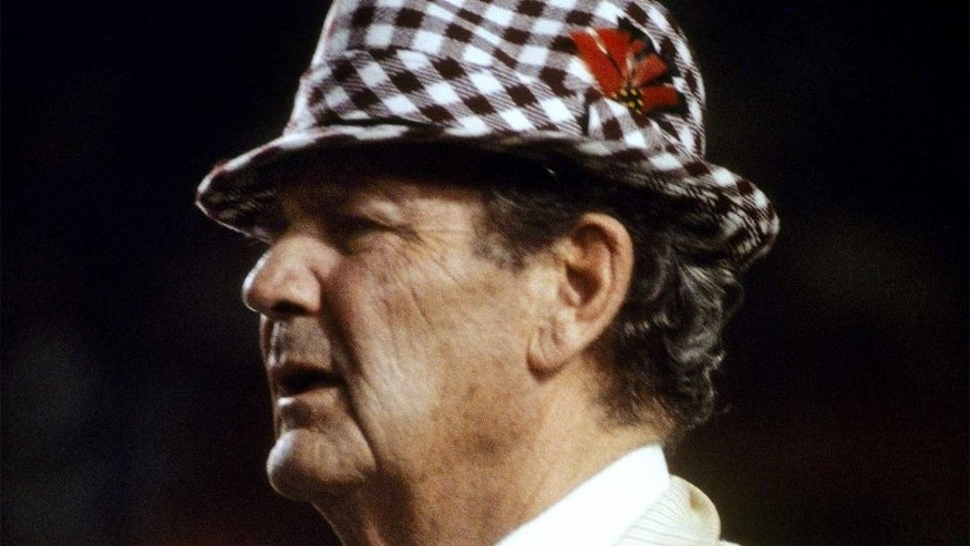 "CIRCA 1980'S: Head Coach Paul ""Bear"" Bryant of the Alabama Crimson Tide watches play from the sideline during an NCAA football game circa early 1980's. Bryant coached at Alabama from 1958-82. (Photo by Focus on Sport/Getty Images)"