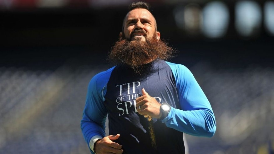 Aug 29, 2015; San Diego, CA, USA; San Diego Chargers free safety Eric Weddle (32) warms up before the game against the Seattle Seahawks at Qualcomm Stadium. Mandatory Credit: Orlando Ramirez-USA TODAY Sports