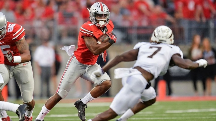 COLUMBUS, OH - SEPTEMBER 26: Braxton Miller #1 of the Ohio State Buckeyes runs with the ball against the Western Michigan Broncos at Ohio Stadium on September 26, 2015 in Columbus, Ohio. (Photo by Jamie Sabau/Getty Images)