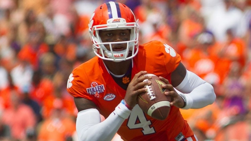 Sep 5, 2015; Clemson, SC, USA; Clemson Tigers quarterback Deshaun Watson (4) looks to pass the ball during the first half against the Wofford Terriers at Clemson Memorial Stadium. Mandatory Credit: Joshua S. Kelly-USA TODAY Sports