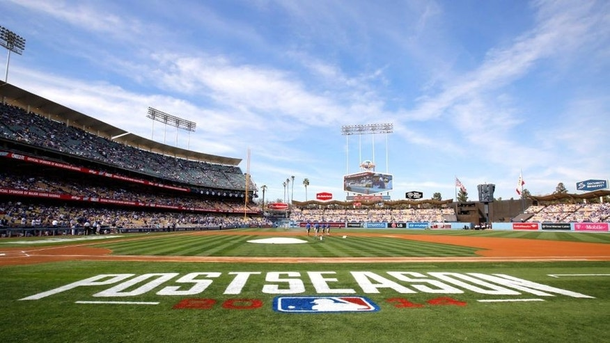 LOS ANGELES, CA - OCTOBER 3: A general view of Dodger Stadium prior to Game 1 of the NLDS between the Los Angeles Dodgers and the St. Louis Cardinals on Friday, October 3, 2014 in Los Angeles, California. (Photo by Rob Leiter/MLB Photos via Getty Images)