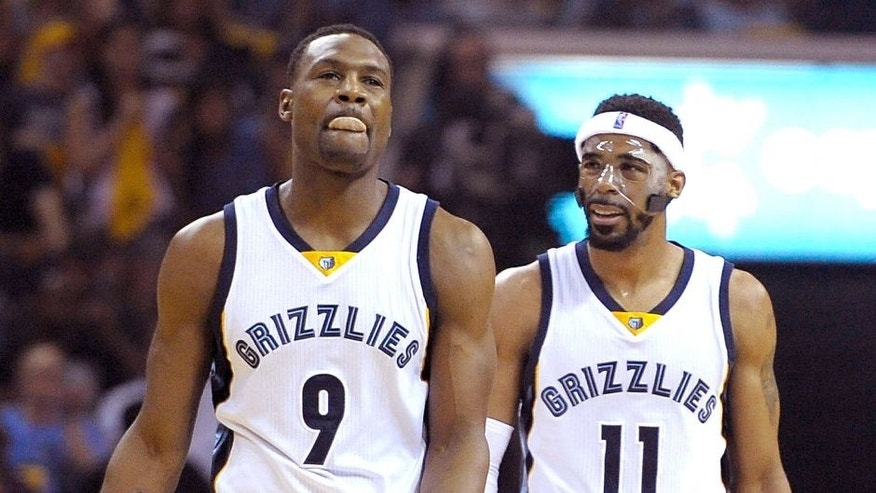 May 9, 2015; Memphis, TN, USA; Memphis Grizzlies forward Tony Allen (9) and Memphis Grizzlies guard Mike Conley (11) during the game against the Golden State Warriors in game three of the second round of the NBA Playoffs at FedExForum. Mandatory Credit: Justin Ford-USA TODAY Sports