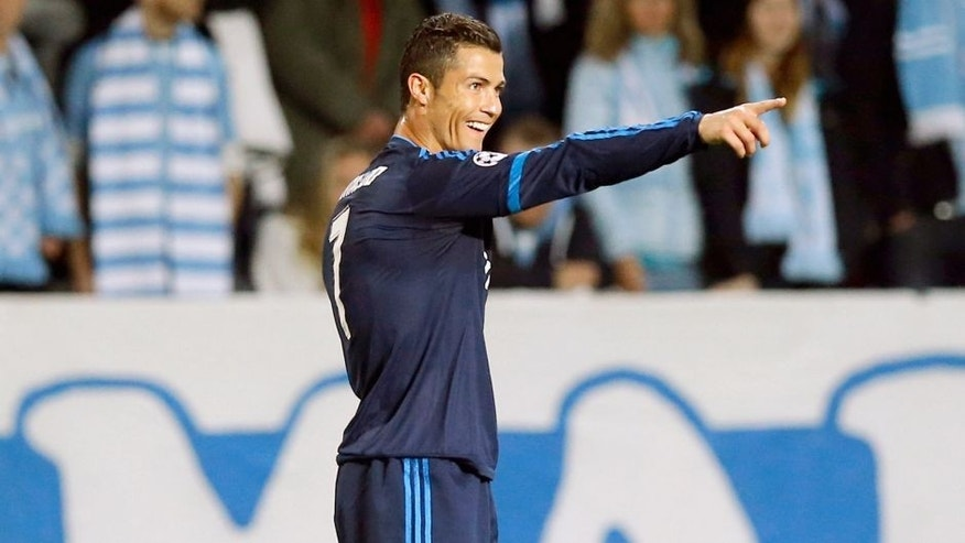 MALMO, SWEDEN - SEPTEMBER 30: Cristiano Ronaldo of Real Madrid celebrates after scoring during the UEFA Champions League Group A match between Malmo fc and Real Madrid CF at Malmo Stadium on September 30, 2015 in Madrid, Spain. (Photo by Helios de la Rubia/Real Madrid via Getty Images)