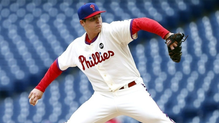 PHILADELPHIA, PA - OCTOBER 1: Pitcher Jerad Eickhoff #48 of the Philadelphia Phillies delivers a pitch against the New York Mets during the fifth inning of a MLB game at Citizens Bank Park on October 1, 2015 in Philadelphia, Pennsylvania. The Phillies defeated the Mets 3-0. (Photo by Rich Schultz/Getty Images)