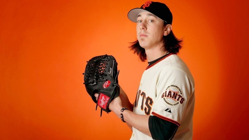 SCOTTSDALE, AZ - FEBRUARY 27: Pitcher Tim Lincecum #55 of the San Francisco Giants poses for a portrait during spring training photo day at Scottsdale Stadium on February 27, 2015 in Scottsdale, Arizona. (Photo by Christian Petersen/Getty Images)