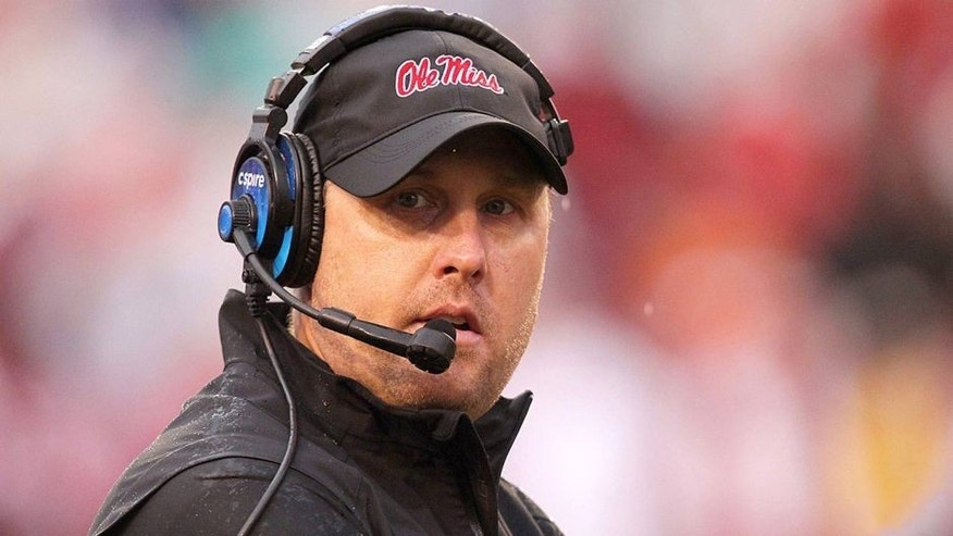 Nov 22, 2014; Fayetteville, AR, USA; Ole Miss Rebels head coach Hugh Freeze during the game against the Arkansas Razorbacks at Donald W. Reynolds Razorback Stadium. Arkansas defeated Mississippi 30-0. Mandatory Credit: Nelson Chenault-USA TODAY Sports