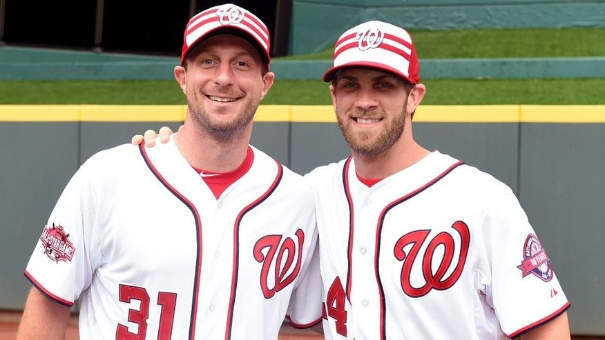 CINCINNATI, OH - JULY 14: National League All-Star Max Scherzer #31 of the Washington Nationals and National League All-Star Bryce Harper #34 of the Washington Nationals pose for a picture prior to the start of the 86th MLB All-Star Game at Great American Ball Park in Cincinnati on Tuesday, July 14, 2015 in Cincinnati, Ohio. (Photo by LG Patterson/MLB Photos via Getty Images)