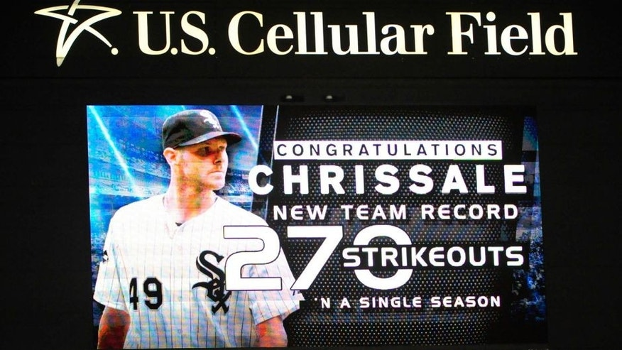 CHICAGO, IL - OCTOBER 02: The scoreboard acknowledges Chris Sale #49 of the Chicago White Sox after striking out James McCann #34 of the Detroit Tigers to get his 270th strikeout of the season to set the franchise record for strikeouts during the second inning on October 2, 2015 at U.S. Cellular Field in Chicago, Illinois. (Photo by David Banks/Getty Images)