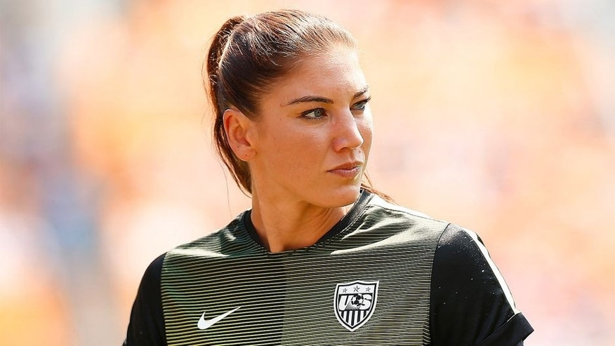 PITTSBURGH, PA - AUGUST 16: Hope Solo #1 of the United States warms up prior to the match against Costa Rica at Heinz Field on August 16, 2015 in Pittsburgh, Pennsylvania. (Photo by Jared Wickerham/Getty Images)
