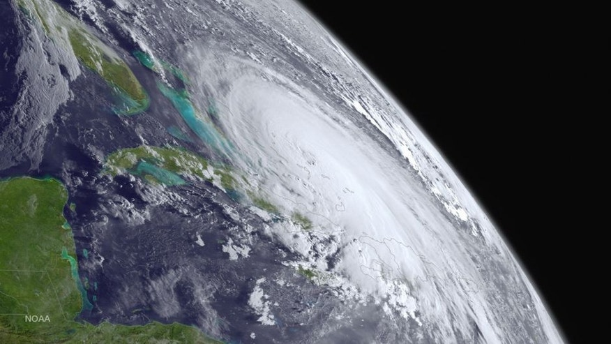 IN SPACE - OCTOBER 1: In this handout from the National Oceanic and Atmospheric Administration (NOAA), Hurricane Joaquin is seen churning in the Atlantic on October 1, 2015. Joaquin was upgraded to a category three hurricane early on October 1. The exact track has yet to be determined, but there is a possibity of landfall in the U.S. anywhere from North Carolina to the Northeast. (Photo by NOAA via Getty Images)