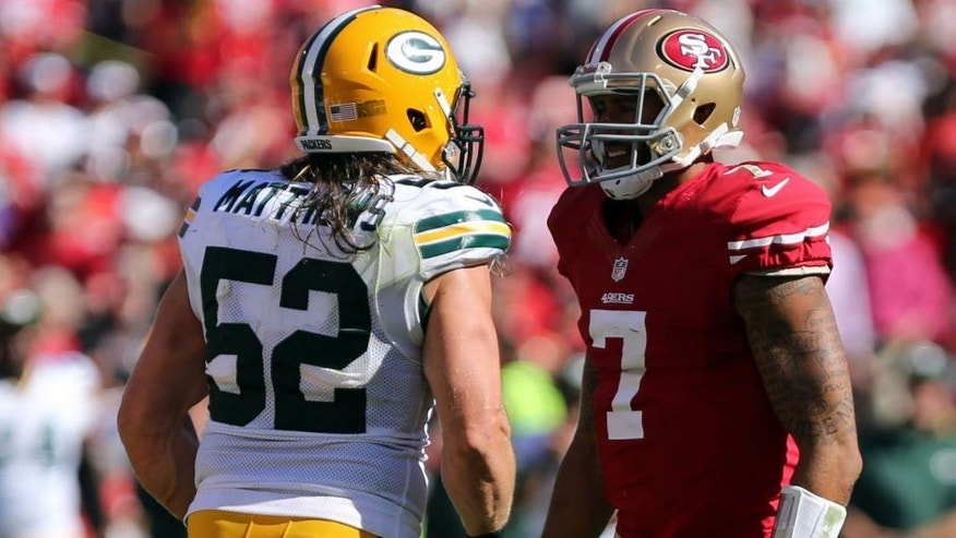 <p>Sep 8, 2013; San Francisco, CA, USA; Green Bay Packers outside linebacker Clay Matthews (52) faces San Francisco 49ers quarterback Colin Kaepernick (7) after the sack during the third quarter at Candlestick Park. The San Francisco 49ers defeated the Green Bay Packers 34-28. Mandatory Credit: Kelley L Cox-USA TODAY Sports</p>